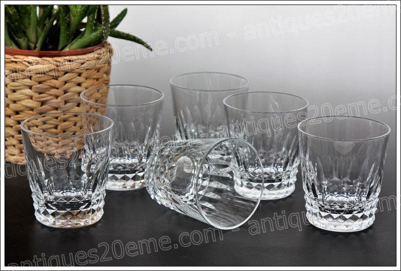 Verres gobelets à whisky en cristal de Baccarat du service Piccadilly, Baccarat crystal whiskey tumbler glasses