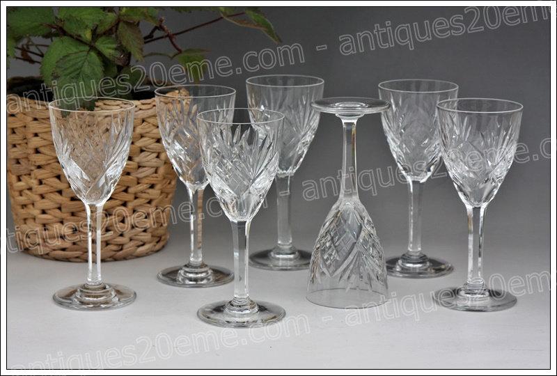 Verres apéritif porto en cristal de Saint-Louis modèle service Chantilly, St Louis Chantilly crystal aperitif glasses
