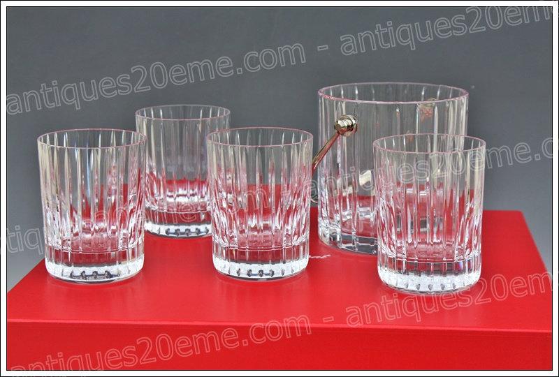 Coffret à whisky en cristal du service Baccarat Harmonie verres et seau, Baccarat crystal whiskey set ice bucket glasses
