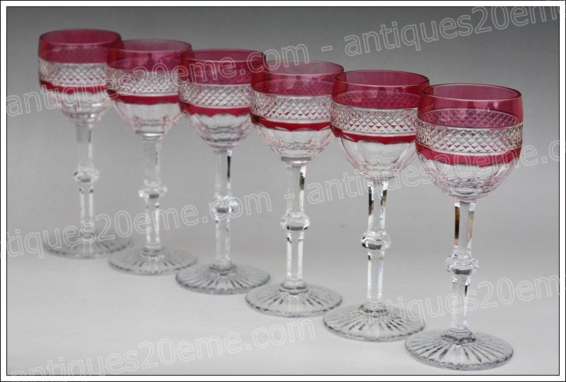 Verres à vin du Rhin en cristal de St Louis modèle service Trianon, St.Louis Trianon crystal Roemer glasses wine hock