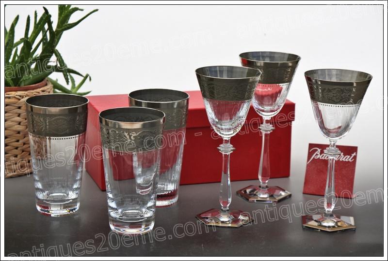 Verres chopes cristal Baccarat Vendôme platine