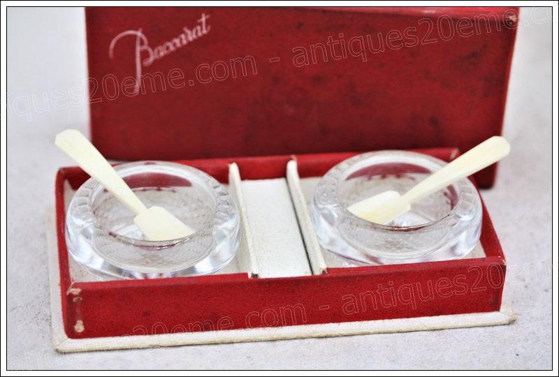 Coffret de salières en cristal de Baccarat, Baccarat crystal salières salt shaker box