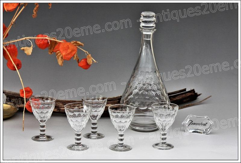 Service à apéritif carafe verres cristal de Baccarat modèle Saint-Hélier, Baccarat crystal aperitif service decanter glasses