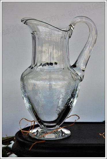 Pichet broc à eau carafe en cristal du service St Louis Cléo, St Louis crystal water pitcher