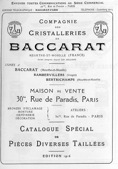 Catalogue Baccarat 1916 Pièces taillées - 1916 Carved items Baccarat catalog