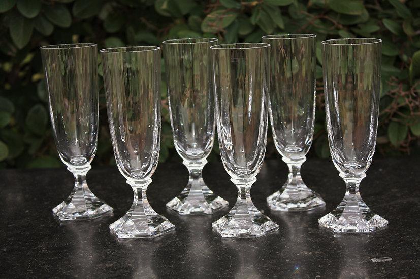 Flûtes verres à champagne en cristal de St Louis modèle service Saint-Cloud, St.Louis crystal Champagne glasses flutes
