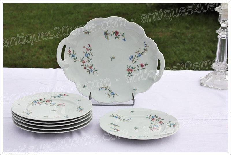 Service à gâteaux en porcelaine de Limoges Haviland Symphonie, Limoges Haviland porcelain cake ser