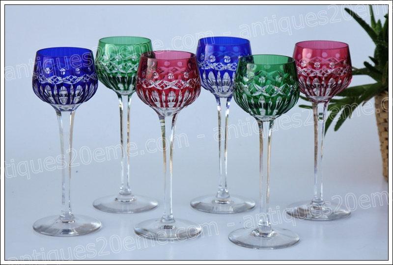 Verres à vin du Rhin en cristal de St Louis modèle service Traminer, St.Louis crystal Roemer glasses