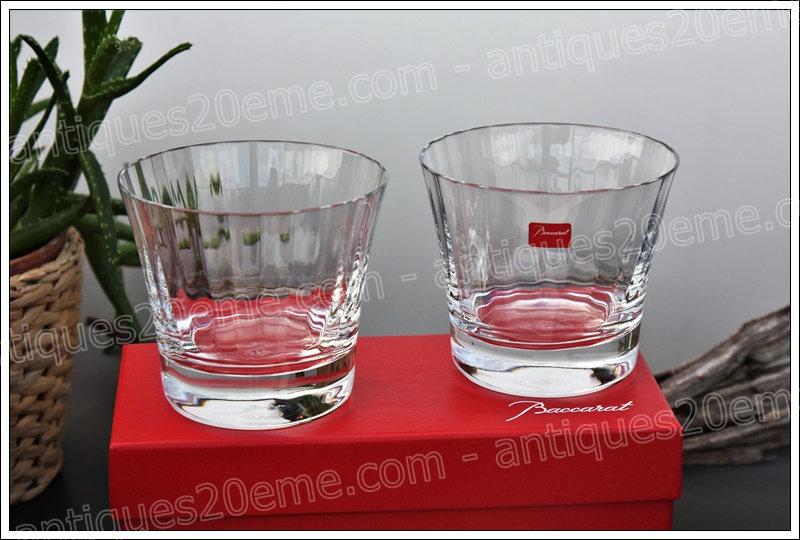 Gobelets verres à whisky en cristal de Baccarat modèle Mille Nuits designer Mathias, Baccarat crystal whisky glasses tumblers