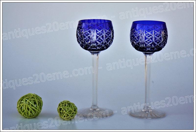 Verres à vin du Rhin Roemer en cristal de St Louis service modèle Riesling, St.Louis crystal Roemer glasses wine hock
