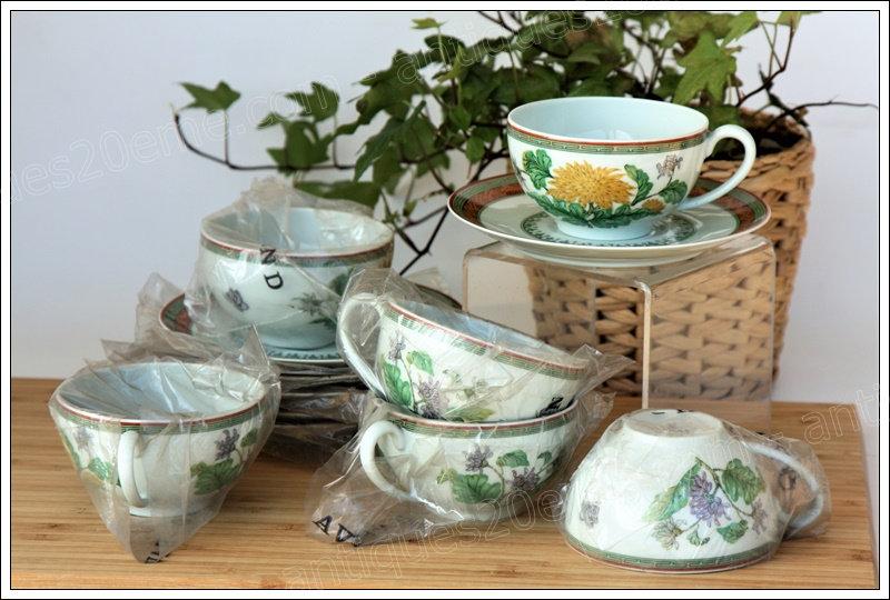 Tasses à thé en porcelaine de Limoges Haviland Chrysanthème, Limoges Haviland porcelain tea cups