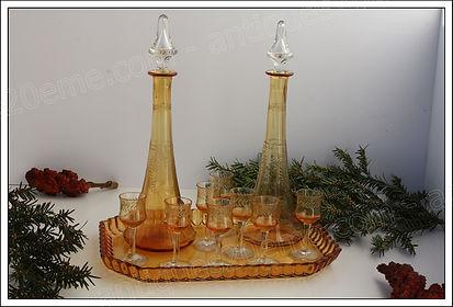 Services carafes verres en cristal Saint-Louis, service liqueur, service à orangeade
