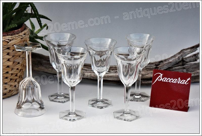 Verres à porto apéritif en cristal du service Baccarat Malmaison, Baccarat crystal Port wine glasses