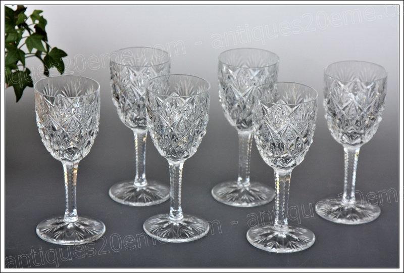 Verres à vin en cristal du service St Louis Florence, St.Louis crystal wine glasses