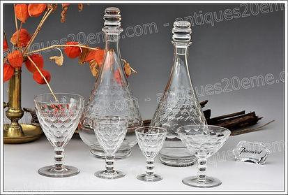 Verres cristal du service Baccarat Saint-Hélier
