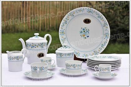 Articles assiettes plats tasses verseuses en porcelaine de Limoges Tharaud