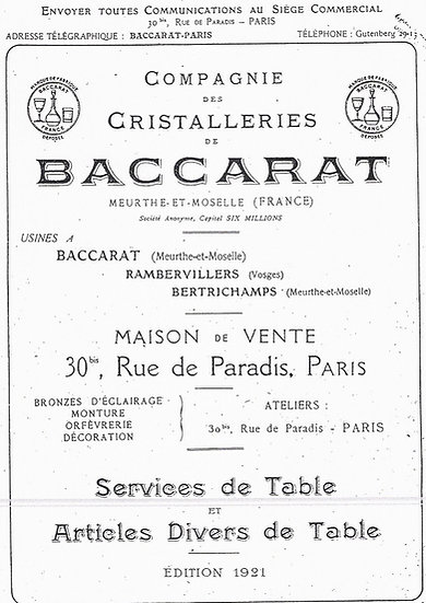 Catalogue des articles en cristal Baccarat