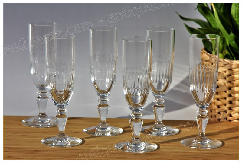 Verres flûtes à champagne en cristal du service Baccarat Renaissance, baccarat crystal champagne glasses
