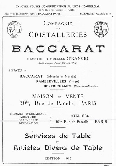 Catalogue des articles en cristal Baccarat