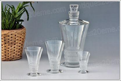 Service verres carafe cristal Lalique Bourgueil