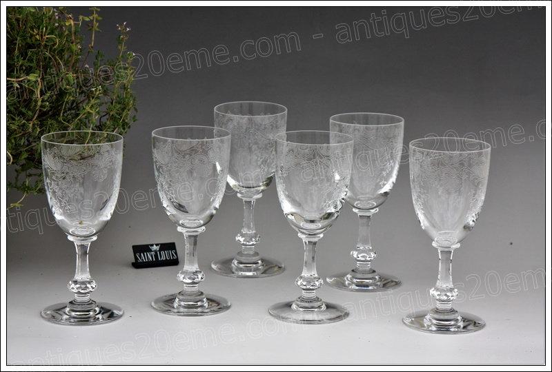 Verres à vin en cristal de St Louis modèle Cléo, St.Louis crystal wine glasses
