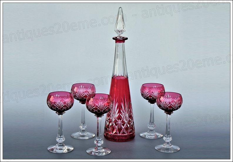 Verres carafe du service en cristal Saint-Louis Massenet, St Louis crystal wine service glasses carafe
