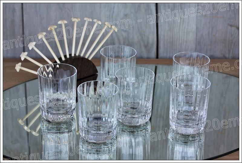 Verres à whisky en cristal de Baccarat modèle service Capri Montaigne Optic, Baccarat crystal whiskey glasses tumblers
