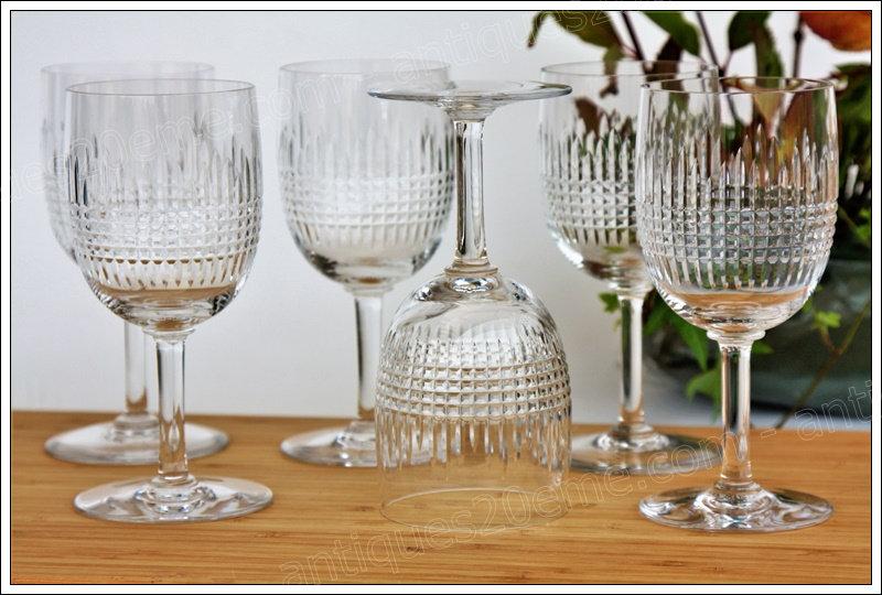 Verres à eau en cristal de Baccarat modèle service Nancy, Baccarat crystal water glasses