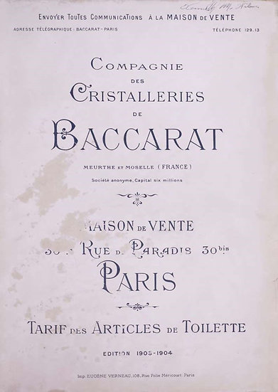 Catalogue Baccarat 1903 Articles de toilette - 1903 Baccarat Toiletries Catalog