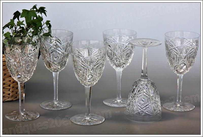 Verres à eau en cristal du service Baccarat Lagny, Baccarat crystal water glasses