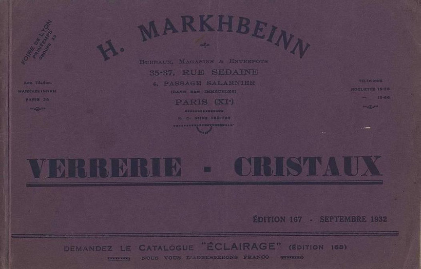 Catalogue de cristal verres articles Markhbeinn, catalog