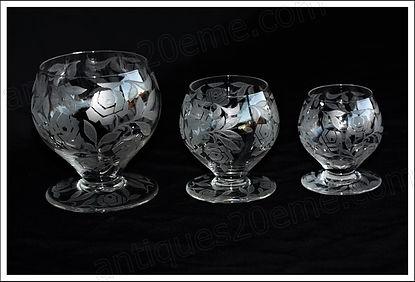 Verres du service en cristal de Baccarat Fontenay