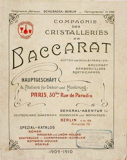Catalogue Baccarat 1909/1910 Roemers - 1909/1910 Baccarat Roemers Catalog