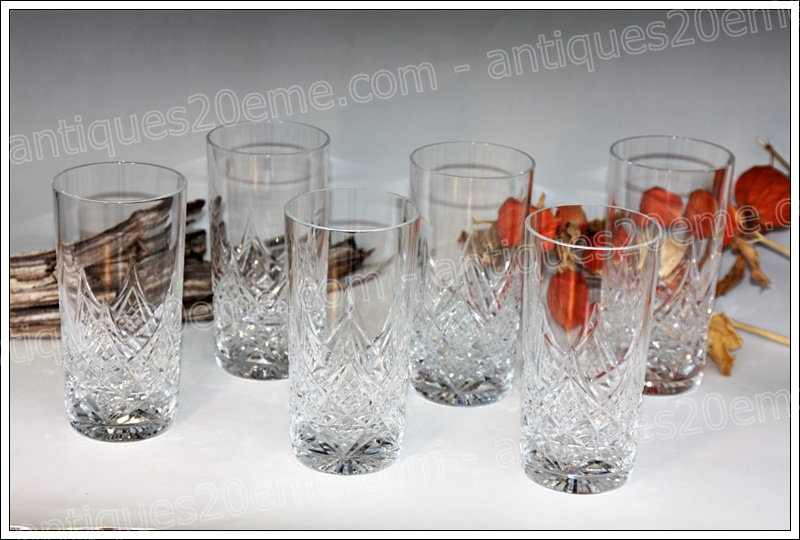 Chopes verres en cristal de Baccarat modèle Colbert, Baccarat crystal highball glasses