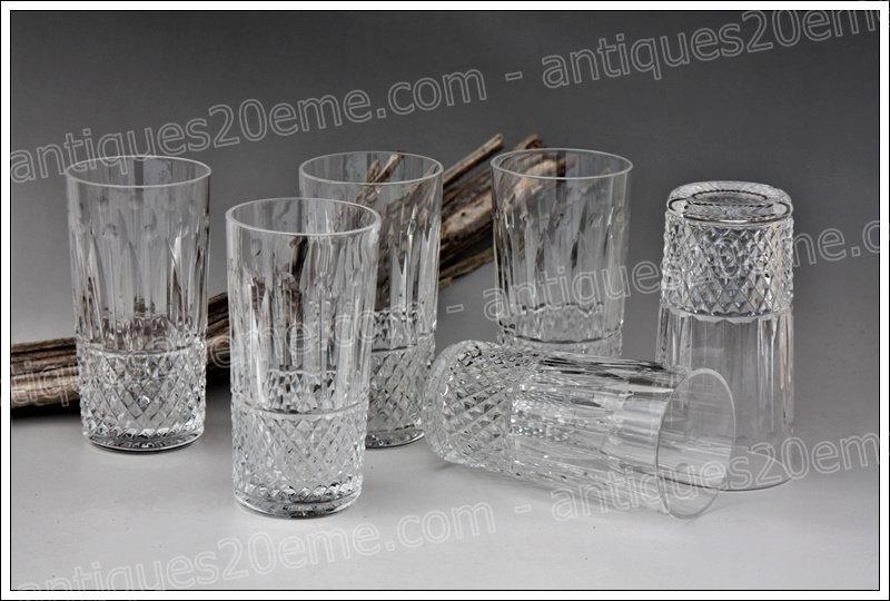 Chopes verres en cristal de ST Louis modèle service Tommy, St.Louis crystal highball glasses