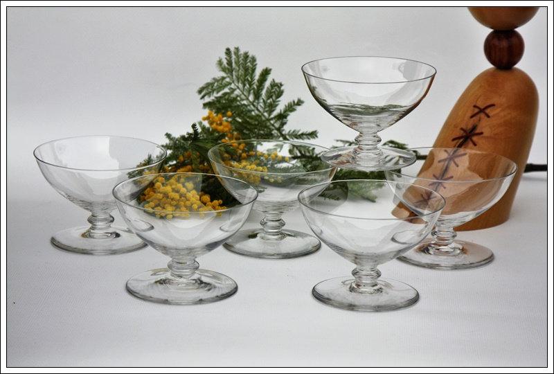 Verres coupes à champagne en cristal du service Baccarat Murcie, baccarat crystal champagne glasses