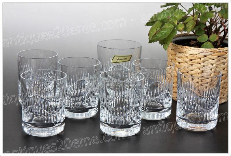 Service à whisky gobelets en cristal de Baccarat modèle service Serpentine, Baccarat crystal whiskey service glasses bucket
