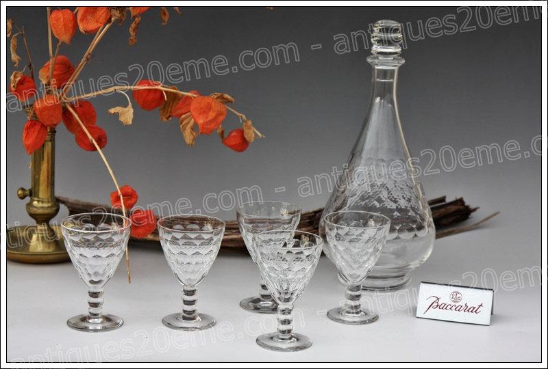 Service à vin carafe verres cristal de Baccarat modèle Saint-Hélier, Baccarat crystal wine service decanter glasses