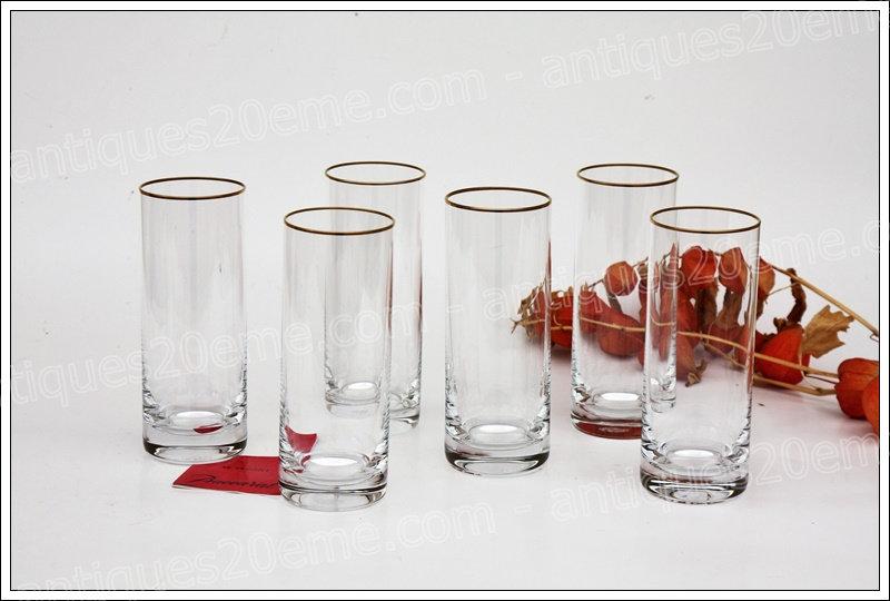Chopes verres en cristal et or de Baccarat modèle service Annie, Baccarat crystal highball glasses