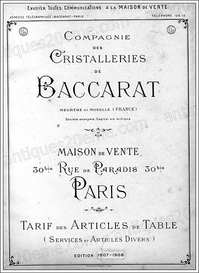 Catalogue des articles en cristal Baccarat 1907, Baccarat catalog