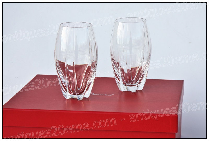 Verres à orangeade gobelets chopes en cristal de Baccarat modèle service Neptune, Baccarat crystal highball glasses goblets