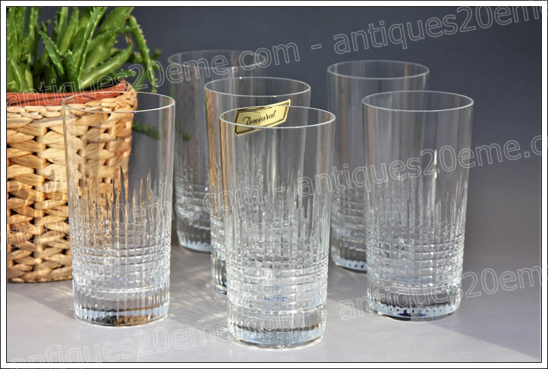 Verres chopes à orangeade en cristal Baccarat modèle Nancy, Baccarat crystal highball glasses