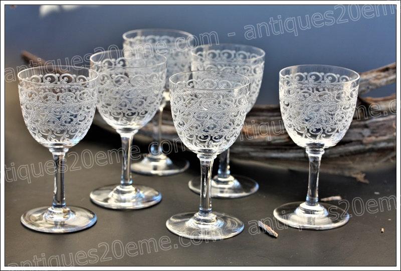 Verres à porto vin cuit en cristal de Baccarat modèle Combourg Rohan, Baccarat crystal port wine glasses