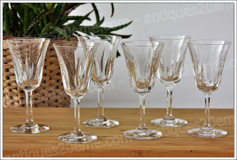 Verres à vin cuit ou porto en cristal du service St Louis Cerdagne, St Louis crystal port wine glasses