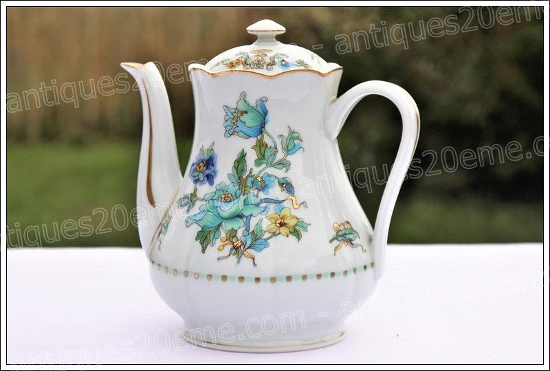 Cafetière en porcelaine de Limoges Haviland Aquarius, Limoges Haviland porcelain coffee pot