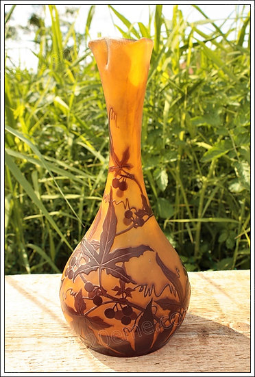 Grand vase pâte de verre Emile Gallé Art Nouveau Ecole de Nancy, Emile Gallé vase