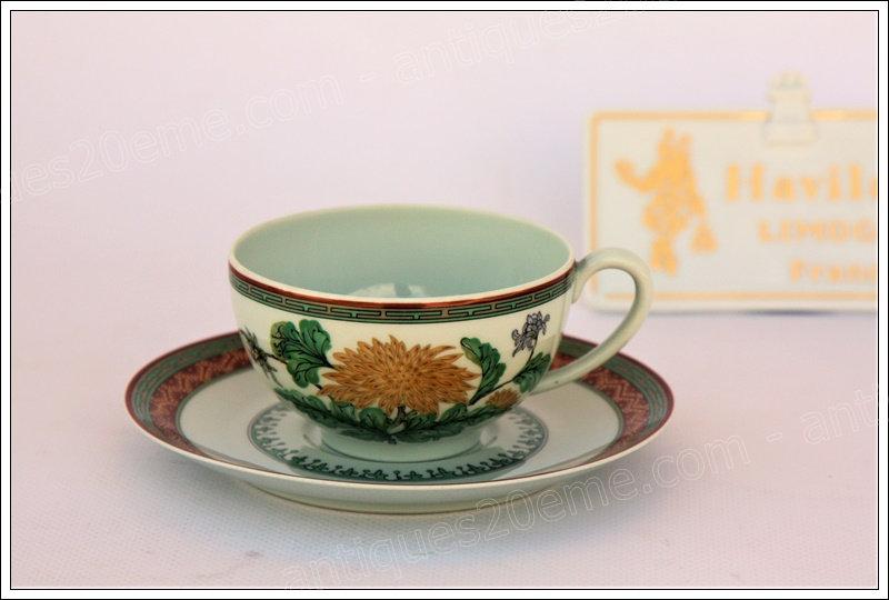 Tasse à thé en porcelaine de Limoges Haviland Chrysanthème, Limoges Haviland porcelain tea cup