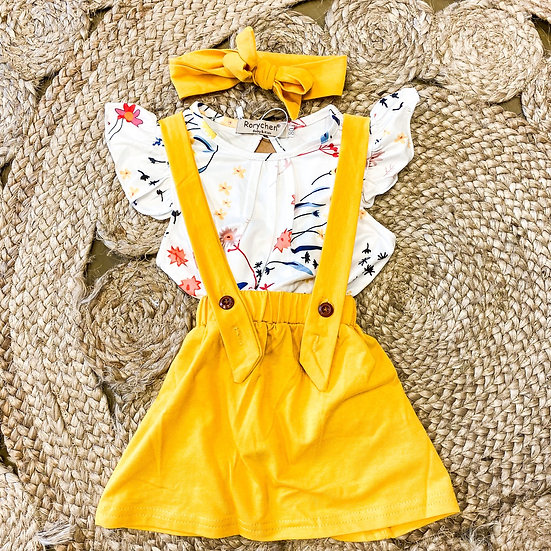 Yellow and floral overall skirt and shirt