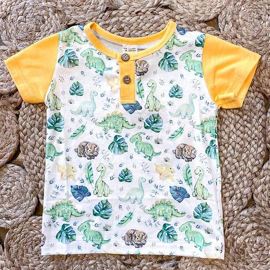Yellow and green dinosaur shirt