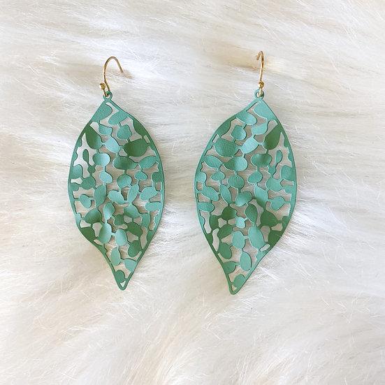 Sea foam green leaf cutout earring